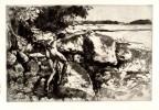 Woman Climbing Among Rocks (from the Maenad Series)